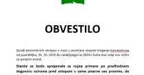 Obvestilo za stranke - POSLOVANJE OBČINSKE UPRAVE